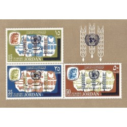 B)1966 JORDAN, UNICEF, ANTI-TUBERCULOSIS CAMPAIGN, ONU, UNISSUED FREEDOM FROM HUNGER STAMPS OVERPRINTD, MNH