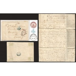 RG)1852 SPAIN, LANESTOSA DATED RED CIRCULAR CANC., VERACRUZ DATED CIRCULAR MARK (PORT OF ENTRY), 4 R IN BLUE INLAND CHARGES, CIR