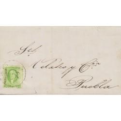 B)1856 MEXICO,MORELIA, VERACRUZ, 2 REALES , YELLOW GREEN, CIRCULATED COVER FROM MEXICO TO PUEBLA, XF