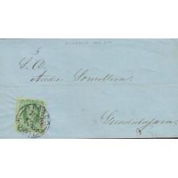 B)1857 MEXICO, MORELIA, 2 REALES, BLUE GREEN, CIRCULATED COVER FROM MEXICO TO GUADALAJARA, XF