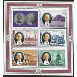 B)1974 COOK ISLANDS, SIR WISTON CHURCHILL CENTENARY, GOLD COMMEMORATIVE COIN, SOUVENIR SHEET, MNH