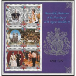 B)1977 COOK ISLANDS, QUEEN, ROYAL, ELIZABETH II IN CORONATION VESTMENTS, QUEEN AND PRINCE PHILIP SOUVENIR SHEET, MNH