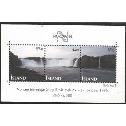 B)1995 ICELAND, WATERFALLS, NORDIA '96, ReYKJAVIK, SOUVENIR SHEETS OF 3, MNH