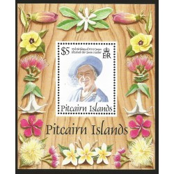 B)1995 PITCAIRN ISLANDS, ROYAL, FLOWERS, QUEEN MOTHER, 95TH BIRTHDAY, SC 431 A88, MULTICOLORED, SOUVENIR SHEET, MNH