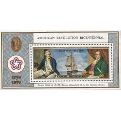 "B)1976 COOK ISLANDS, ROYAL VISIT, BOAT, BENJAMIN FRANKLIN AND ""RESOLUTION"", AMERICAN BICENTENNIAL, MNH"