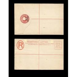 RB)1889 GILBRATAR , REGISTERED ENVELOPES, 20 CENTS IN CRIMSON COLOR, POST OFFICE, XF
