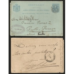 B)1890 NETHERLANDS TO PUERTO PRINCIPE CUBA, POSTAL STATIONARY, D.E SCHREIDERS GRAVENHAGE OVAL PURPLE MARK, XF.