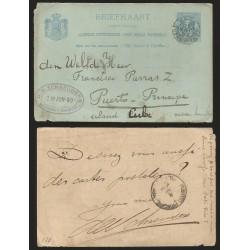 B)1890 NETHERLANDS TO PUERTO PRINCIPE CUBA, POSTAL STATIONARY, D.E SCHREIDERS GRAVENHAGE OVAL PURPLE MARK, XF.