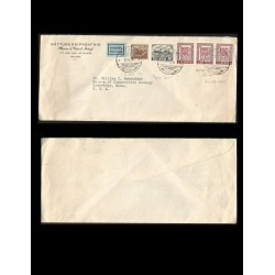 RB)1939 ICELAND, FISH, BOAT, CODFISH, OFFICIAL STAMP, MUSEUM OF NATURAL HISTORY, CIRCULATED COVER FROM ICELAND TO USA, XF