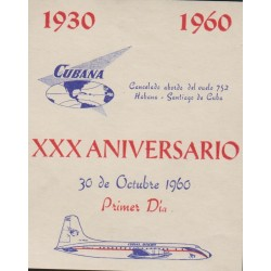B)1960 CARIBE, AIRPLANE, WORLD, XXX ANNIVERSARY, AVIATION, SOUVENIR SHEET CINDERELLA, MNH
