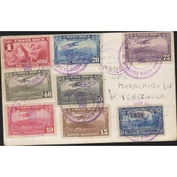O) 1939 COSTA RICA, SYMBOL OF MEDICINE-BASTON ESCULAPIO,CHRISTOPHER COLUMBUS IN CARIARI,LANDSCAPE, AIRPLANE,TO VENEZUELA