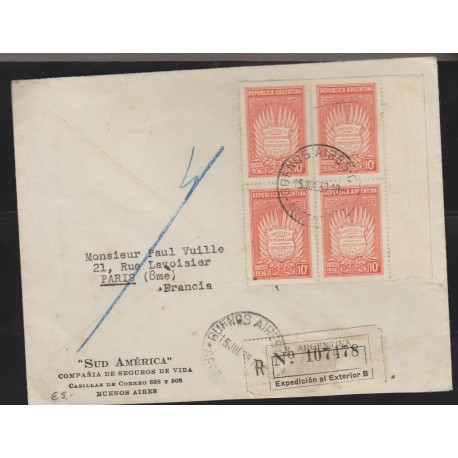 O) 1939 ARGENTINA, 10 C. RED - CONSOLIDATION OF PEACE, REGISTERED MAIL TO FRANCE, XF