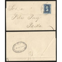 G)1880 MEXICO, 25 CTS. VERACRUZ DISTRICT, 380, TLACOTALPAN OVAL CANC., DATED MAILMAN SHOULD NOT REQUEST GRATIF