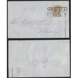 G)1864 MEXICO, 2 REALES, ORIZAVA DATED BOX CANC., CIRCULATED COVER TO MEXICO, XF