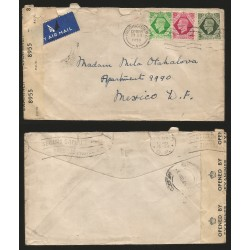 RB)1945 GREAT BRITAIN, KING GEORGE VI, TRIP OF 3, AIRMAIL SENSOR SHIP CIRCUALTED COVER FROM PAIDDINGTON TO MEXICO, XF