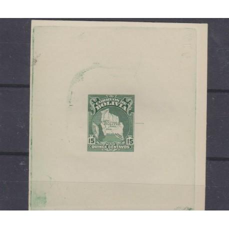 O) 1928 BOLIVIA, DIE PROOF, MAP, PRESIDENT SILES, PATRIOTIC SYMBOLS, 15 CENTAVOS GREEN, MNH