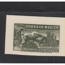 o) 1934 MEXICO, DIE SUNKEN PROOF GREEN, EAGLE MAN - VEINTE CENTAVOS, MNH