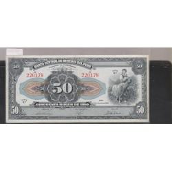 O) 1945 PERU, AMERICAN BANK NOTE COMPANY, 50 SOLES DE ORO - SERIE B7 - 50 SOLES, UNUSED, XF
