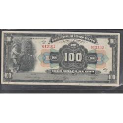 O) 1941 PERU, CIEN SOLES DE ORO - 100 SOLES PRISTINE, AMERICAN BANKNOTE COMPANY, UNUSED XF