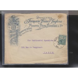O) 1906 ARGENTINA, LIBERTY HEAD - 15 CENTAVOS GREEN, COVER TO PARIS, XF