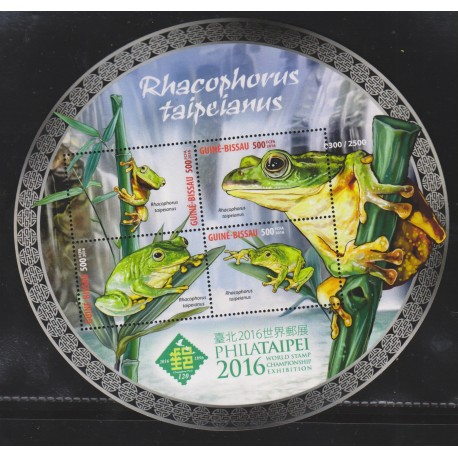 O) 2016 GUINEA BISSAU,  RHACOPHORUS TAIPEIANUS-FROG IN DANGER OF EXTINCTION, ODD SHAPED, WORLD STAMP CHAMPIONSHIP EXHIBITION