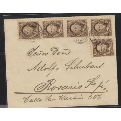 O) 1892 ARGENTINA, UN CENTAVO, MULTIPLE COVER, FROM BUENOS AIRES TO ROSARIO, XF