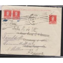 O) 1918 ARGENTINA, 5 CENTAVOS. JOSE DE SAN MARTIN, 10 CENTAVOS PAIR UPRATED, POSTAL STATIONERY TO GERMANY, XF