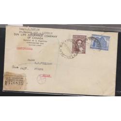 O) 1945 ARGENTINA, 10 CENTAVOS BERNARDINO RIVADAVIA, LINCOLN BUENOS AIRES TO SOUDAN AFRICA, REGISTERED MAIL, XF