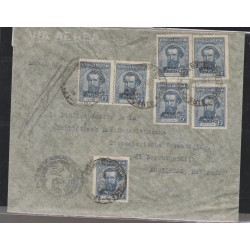 O) 1924 ARGENTINA, MULTIPLE COVER, MARTIN GUEMES, WITH SERVICIO OFICIAL OVERPRINT, TO AMSTERDAM, XF