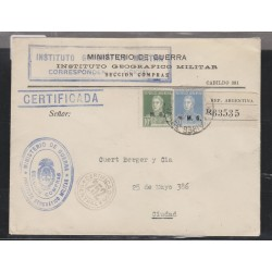 O) 1922 ARGENTINA, GENERAL JOSE DE SAN MARTIN, FROM WAR MINISTRY GEOGRAPHIC AND MILITAR INSTITUTE, CERTIFIED LOCAL MAIL, XF