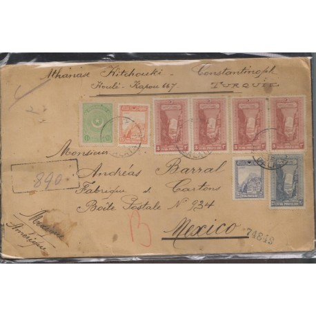 O) 1927 TURKEY, FORTRESS OF NKARA, SAKARYA GORGE, CERTIFIED MAIL, FROM GALATA TO MEXICO, XF