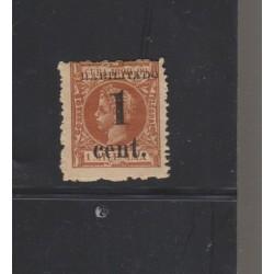O) 1898 CARIBE, FAKE, HABILITADO 1 CENTAVO - OCCUPATION, KING ALFONSO XIII, XF