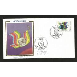 O) 1986 UNITED NATIONS - GENEVA-FS, INTERNATIONAL YEAR OF PEACE - DOVE SYMBOL OF BIBLICAL ORIGIN AND HANDS, FDC XF
