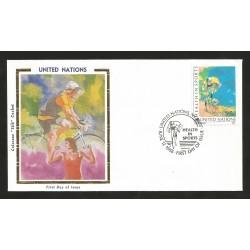 O) 1988 UNITED NATIONS-NEW YORK, BIKING, PAINTING LEROY NEIMAN - SILK, FDC XF