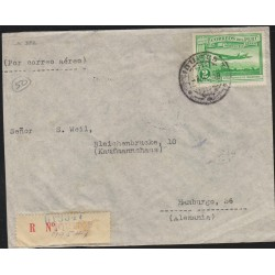 O) 1938 PERU, 2 SOLES GREEN- AIRCRAFT, WATERLOW Y SONS, COVER REGISTERED TO GERMANY,