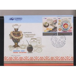 E)2016 ARGENTINA, SHARING TRADITIONS, JOINT ISSUE ARGENTINA-RUSSIA, TEA-INFUSION, FDC