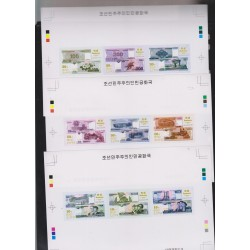 E)2015 KOREA, BANKNOTE, SET OF 3, IMPERFORATED PROOFS, S/S, MNH