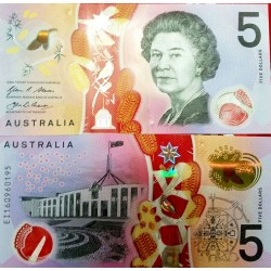 O) 2016 AUSTRALIA, BANKNOTE-POLYMER - 5 DOLLARS UNC - AUSTRALIAN DOLLAR -AUD, QUEEN ISABEL II, BRAILLE SYSTEM
