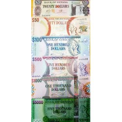 O) 2016 GUYANA, BANKNOTE, COMPLETE SERIES OF GYD-GUYANES DOLLAR-ISO 4217-UNC, WATERFALL, PANTHER, INDEPENDENCE, ARCHITECTURE,UNC