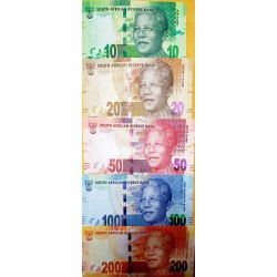 O) 2012 SOUTH AFRICA, BANKNOTE-COMPLETE SERIES-RAND-ZAR ISO 4217, NELSON MANDELA, WILD ANIMALS, UNC