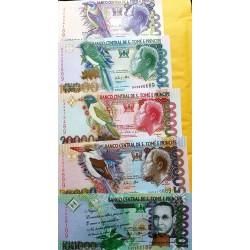 O) 2013 SAO TOME AND PRINCIPE, BANKNOTE-COMPLETE SERIES DOBRAS-DB, REI AMADOR, FRANCISCO JOSE TENREIRO, 9/5000 LANDSCAPE