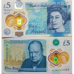 O) 2015 UNITED KINGDOM, BANKNOTE -POLYMER - 5 POUNDS - GBP, ISABEL II, WINSTON CHURCHILL, UNC