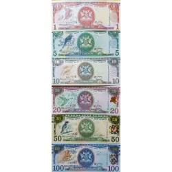 O) 2006 TRINIDAD AND TOBAGO, COMPLETE SERIES DOLLARS - ISO 4217 -TTD, BIRDS, UNC, PAPER MONEY