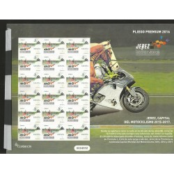 E)2016 SPAIN, JEREZ CITY, WORLD CAPITAL OF MOTOCYCLING, MOTORCYCLE, F1, ODD SHAPE, SOUVENIR PREMIUM SHEET OF 18, MNH