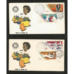 E)1973 VENEZUELA, CHILD FESTIVAL FOUNDATION, MAP, CHINDRENS, ILUSTRATION, FDC SET OF 2