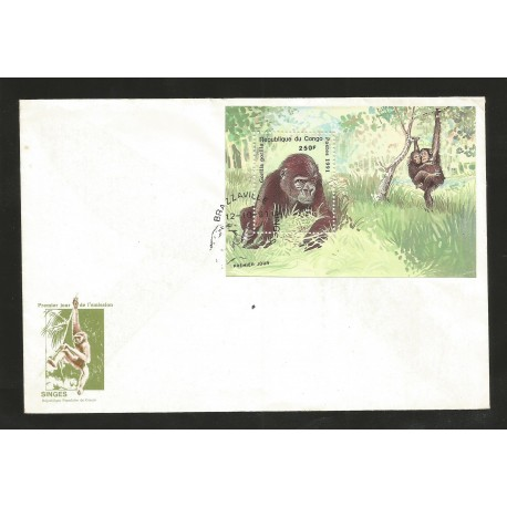 E)1991 REPUBLIC OF CONGO, GORILLA, MONKEYS, ANIMAL, JUNGLE, FDC