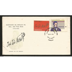 E)1976 VENEZUELA, BICENTENIAL OF THE BIRHDAY OF THE GENERAL JOSE FELIX RIVAS, HERO, FIRM, FDC