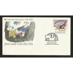 E)1988 AUSTRALIA, KOALA-EAGLE, AUSTRALIAN BICENTENARY JOINT ISSUE WITH THE USA, FDC