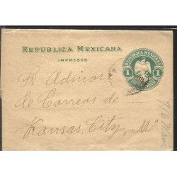 E)1877 MEXICO, 25 CENTAVOS, CIRCULATED COVER FROM SALTILLO TO MEXICO D.F, XF