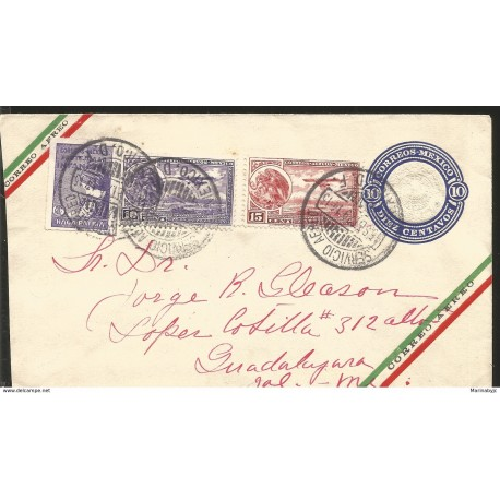 J) 1929 MEXICO, POSTAL STATIONARY, AZTEC CALENDAR, EAGLE AND AIRPLANE OVER MEXICO CITY, PROTECTION AGAINST